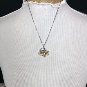 Auburn color swan 🦢 on a silver chain